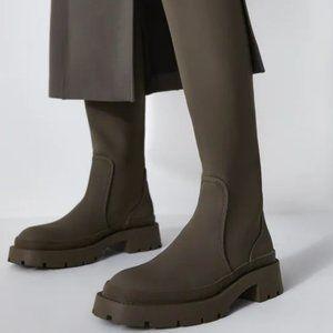 NWT Zara Low Heeled Khaki Green Rubberized Boots 8